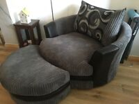 6 Week Old Large Swivel Chair Complete with Footstool