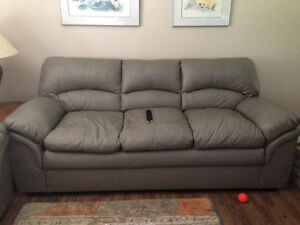 Grey Leather Sofa and Loveseat