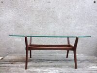 Beautiful Mid Century Danish Influenced Hille Style Glass And Teak Coffee Table