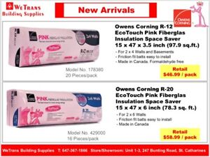 Owens Corning R-12 R-20 Pink Fiberglas Insulation - Great Price