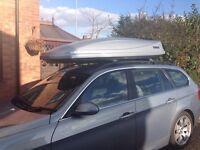 Large THULE Roof Box and THULE WingBar Edge Roof Bars