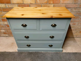 Stunning Fully Refurbished very solid and heavy pine chest of 4 drawer