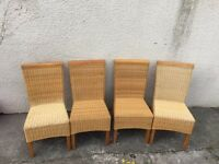 Wicker dining chair conservatory pine can deliver set 4