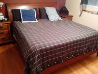 King Size Sleigh Bed with box springs and mattress.