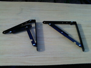 "SHELF FOLDING BRACKETS BLACK 8"" long"
