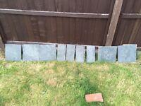 Slate effect fireplace tiles