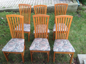 Teak-finished maple wood chairs