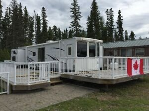 Jayco destination trailer at Noble Point Marina, Candle Lake
