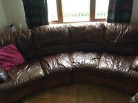 Corner sofa brown leather large footstool