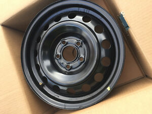 "16"" x 6-1/2"" black steel rims, Mint condition."