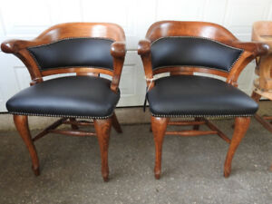 antique krug office chairs circa 1895 new leather restored EACH