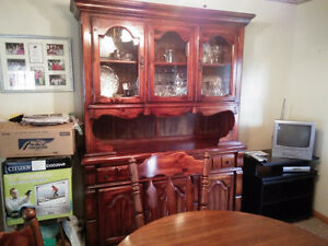 Solid wood dining table and chairs with 2 leafs, China cabinet