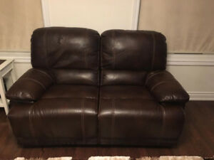 Slightly worn, reclining love seat (Chocolate brown color)