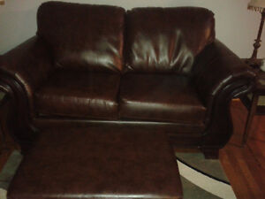love seat,chair, foot stool