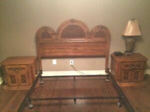 Solid hardwood queen headboard with 2 night stands and frame