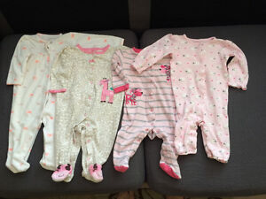 4x Baby Girls Sleepers 3-6 months