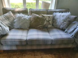 Grey Checked 3 Seater Sofa