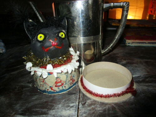 Very old  Halloween black Cat Candy Container marked and made in Germany