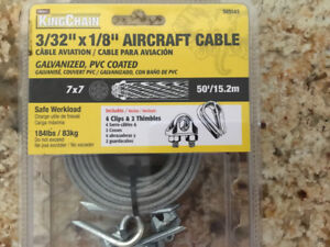 """KING CHAIN AIRCRAFT CABLE NEW! 3/32"""" x 1/8"""" 50'. GALVANIZED, PV"""