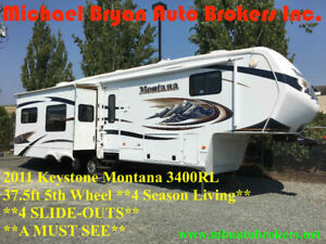 2011 KEYSTONE MONTANA 3400RL - 38FT 5TH WHL *4 SLIDE-OUTS* RARE