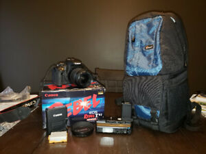 Canon T1i + 18-55 lens, bag & acc.  Exc Cond.