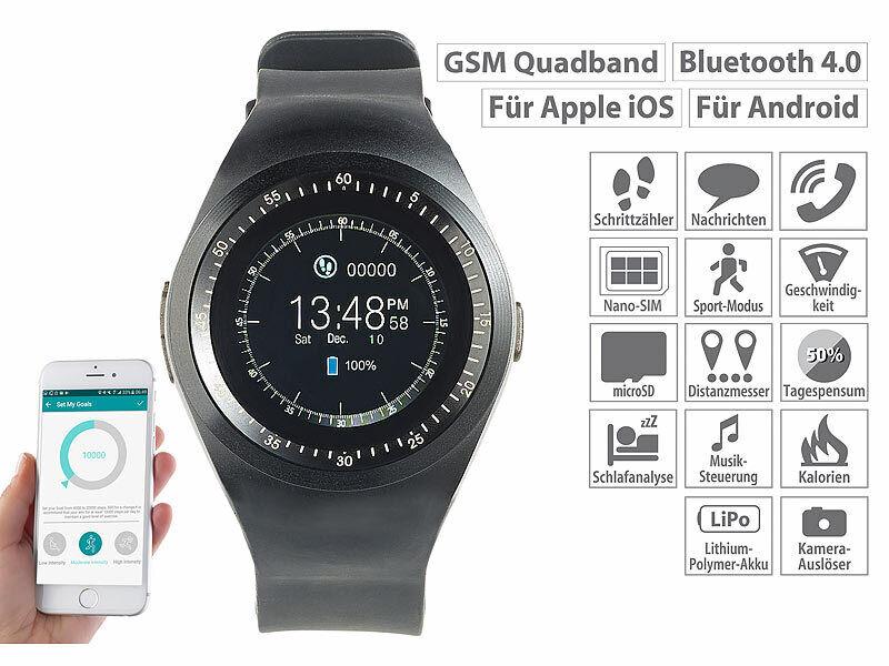 Simvalley 2in1 GPS Handyuhr und Smartwatch PW-425