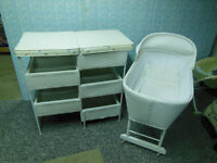 WICKER BASSINET AND CHANGE TABLE