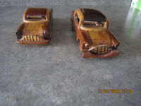 2 beautifully Carved wooden 50's cars.