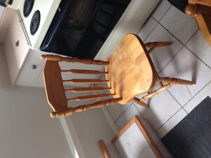 5 solid wood chairs, made in USA