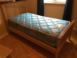 Twin solid wood bed frame by Nadeau/Shermag