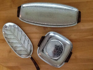 3 VINTAGE GLO-HILL GOURMATES CHROME SERVING DISHES Top pic is 15