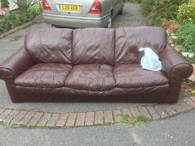 Three seat leather sofa free to good home