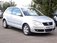 Volkswagen Polo 1.2, Petrol, Silver, 2008 Match Hatchback, 54 000 Miles, FSH