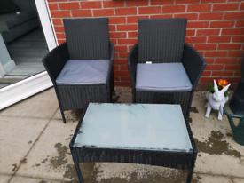 rattan effect garden patio furniture set