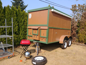 home-built 12x6x8. Dual axels double walled and insulated