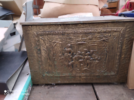 Antique Embossed brass log or coal box