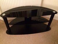 TV Stand Large Black Glass Shelves