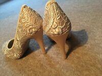 Cream Satin heels (Size 4)