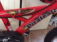 "Kids red pirate bike size 14"""