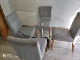 Glass dining table and 4 chair's