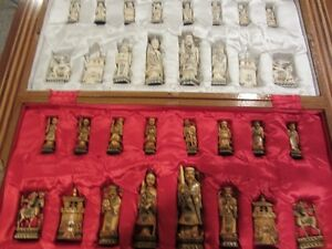 Antique ivory Chinese chess set and custom made chess table