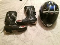 RST motorbike boots and caberg helmet