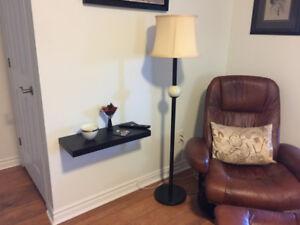 Floor Lamp Black pole , tri light 57 in. tall (Dartmouth)