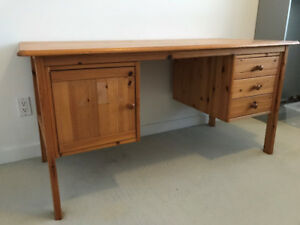 Wooden Business Desk with Drawers For Sale