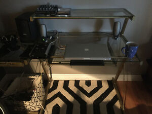 Metal and glass L shaped desk
