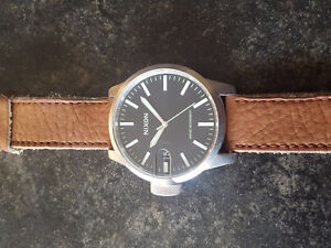 """Nixon """"The Chronicle"""" Leather Band Watch"""