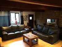 Brown Leather 2 X 3 Seater Sofa Set Good Condition