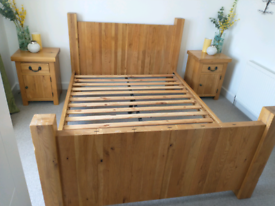 Solid oak king size bed and bedside cabinets