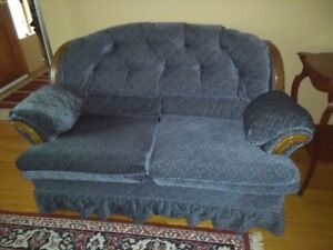 Retro Blue Couch, Chair and Loveseat