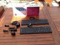 Brand New Boxed 2 x USB Keyboards 2 x 4 port USB powered Hubs & power supplies from RaspberryPI kits